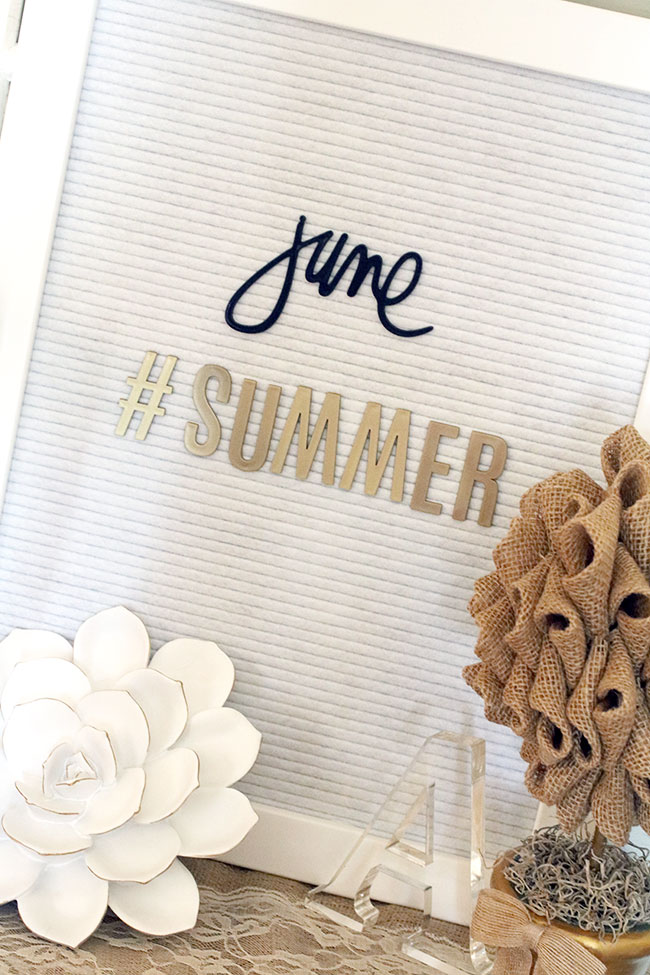 summer letter board from curly crafty mom