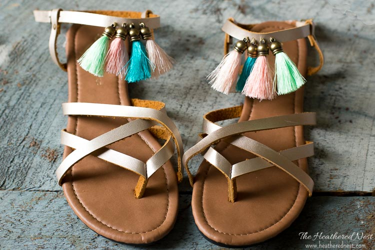 DIY fringe sandals from The Heathered Nest
