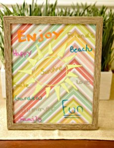 DIY inspiration board made with a picture frame, scrapbook paper and chalk pens