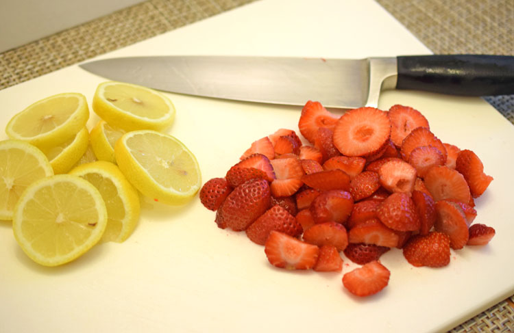 sliced lemons and strawberries