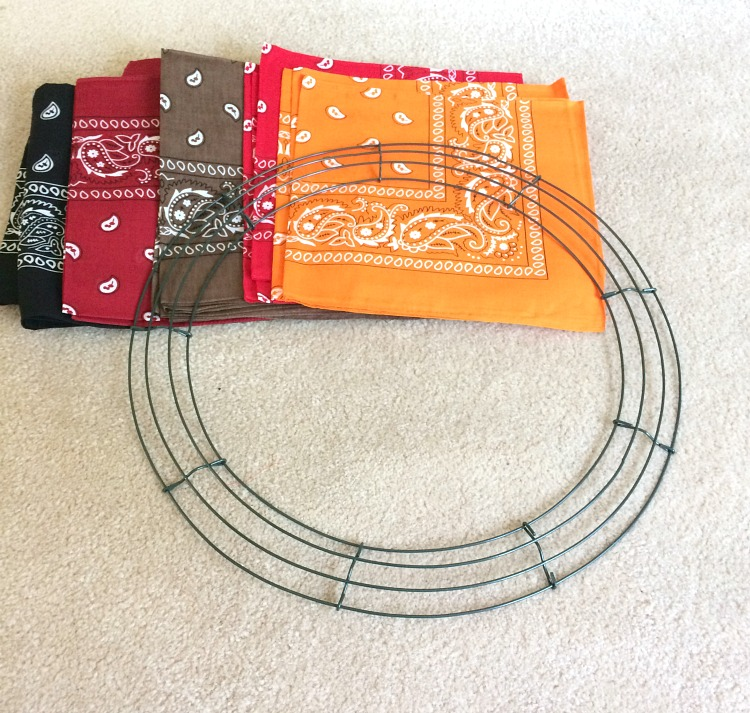 Supplies for an easy fall bandana wreath