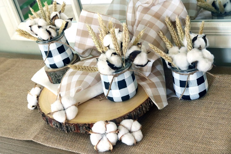 plaid decorated yogurt jars for fall