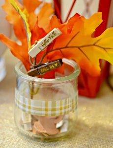 Decorate cute glass yogurt jars to use as a collection spot to create a fall bucket list