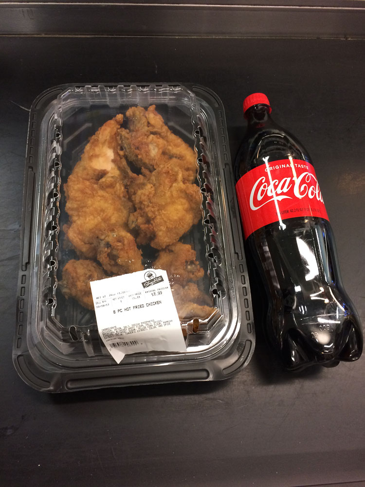 Fried chicken and Coca-Cola from ShopRite
