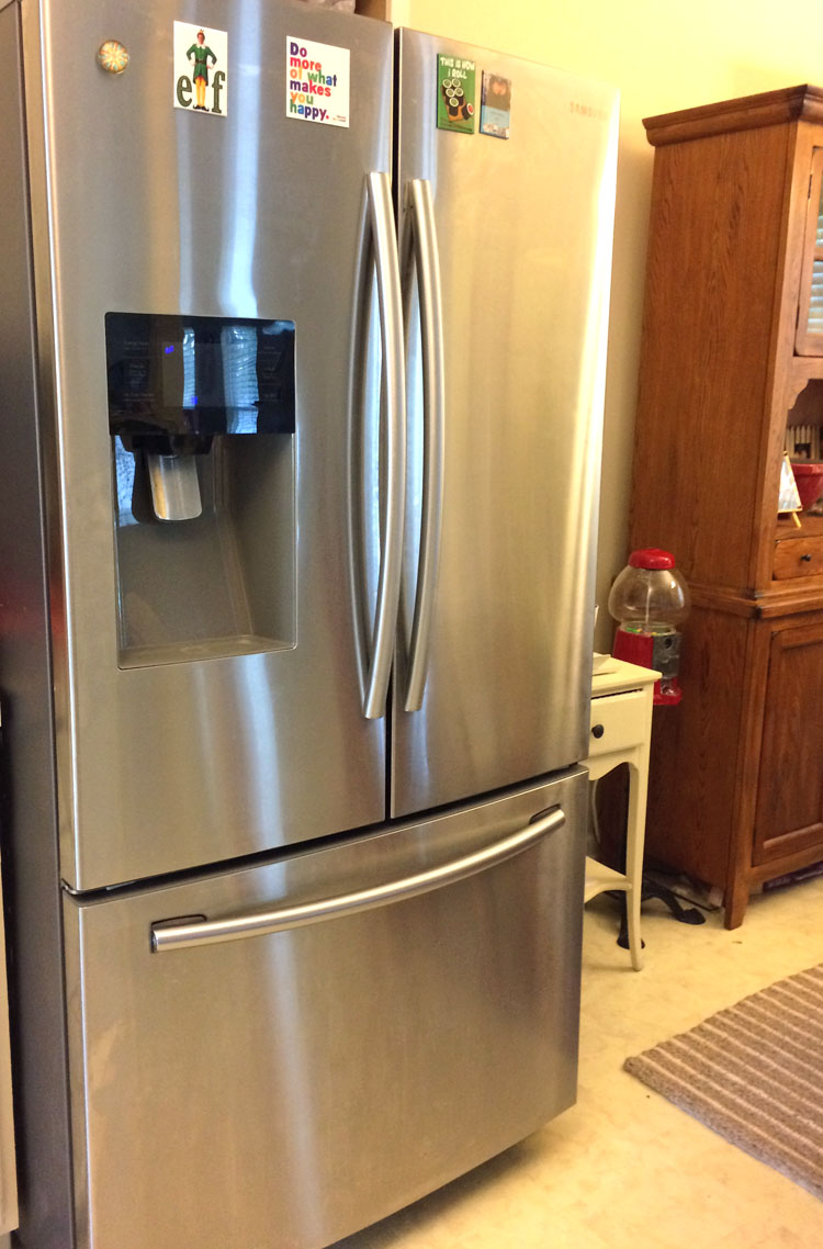 clean stainless steel fridge