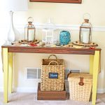 Fall Console Table with Copper & Wood Accents