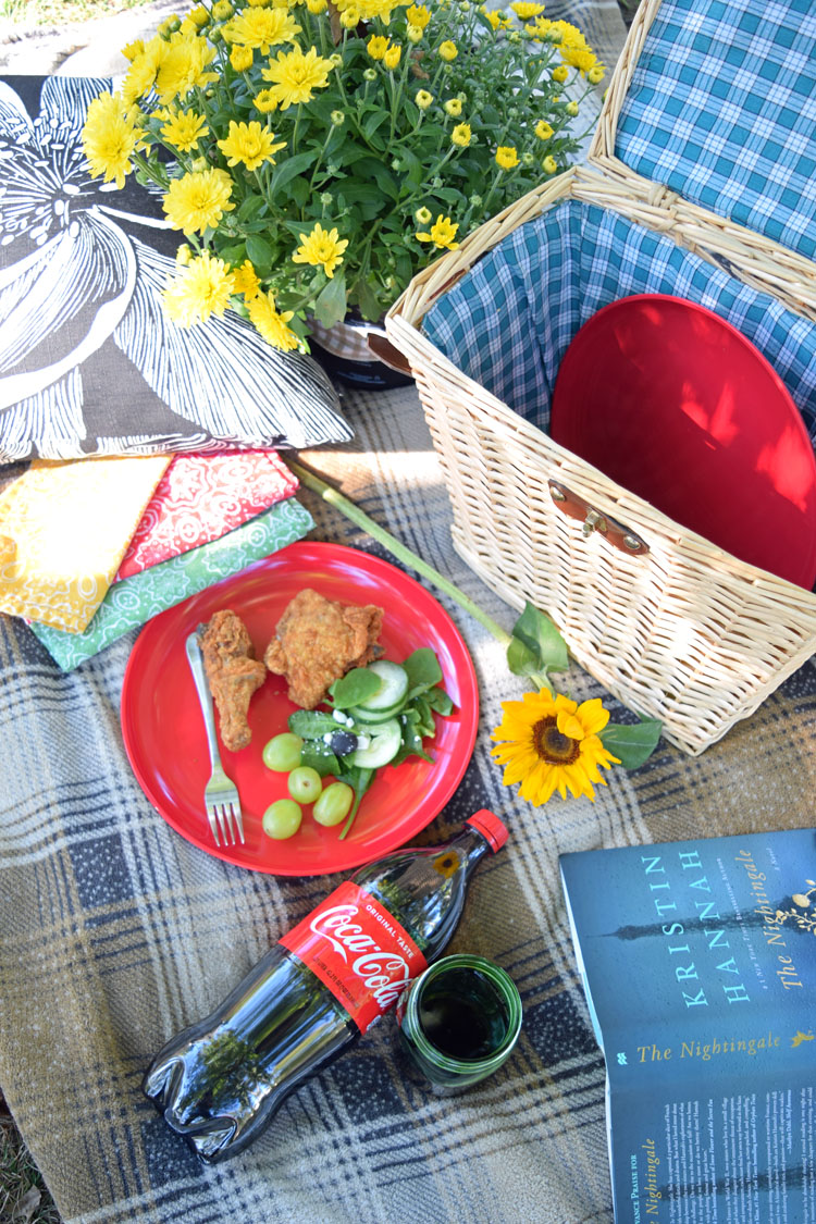 Fall picnic with fried chicken and Coca-Cola