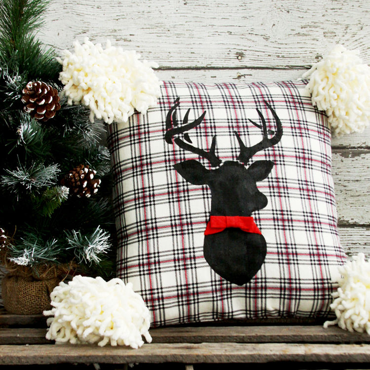 DIY stenciled flannel deer pillow