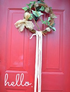 boho lace and ivy grapevine wreath for the Christmas and winter holidays