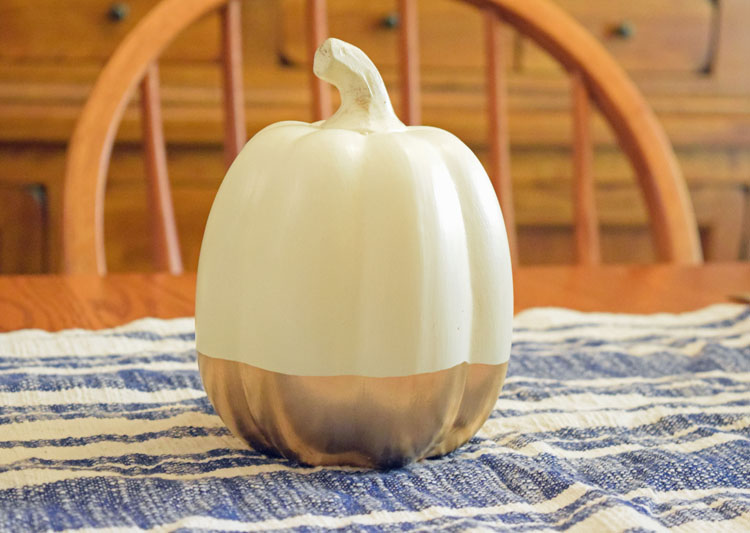 gold dipped white ceramic pumpkin from Oriental Trading