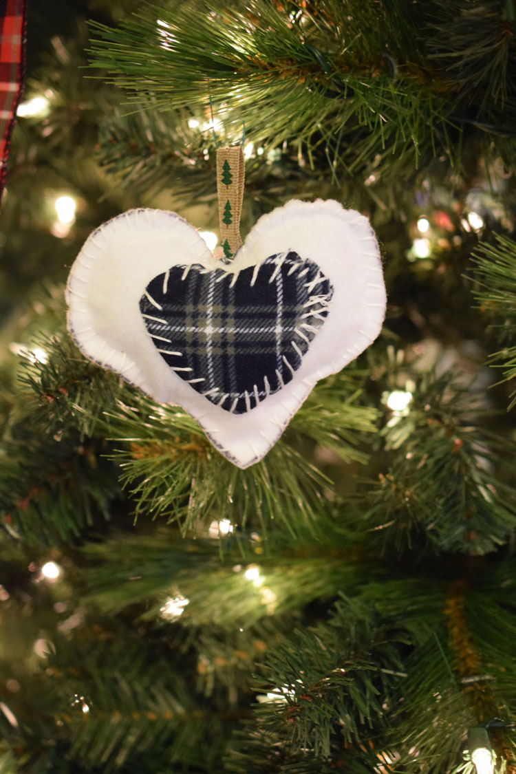 handcrafted white felt and blue plaid heart ornament