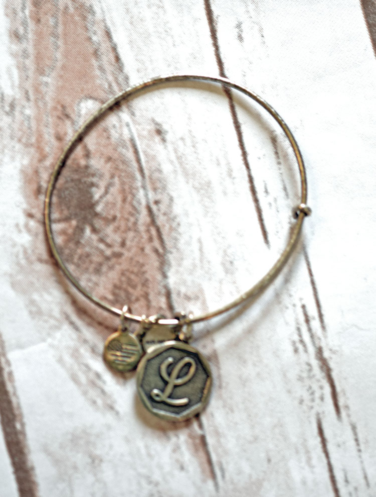 silver initial bangle bracelet