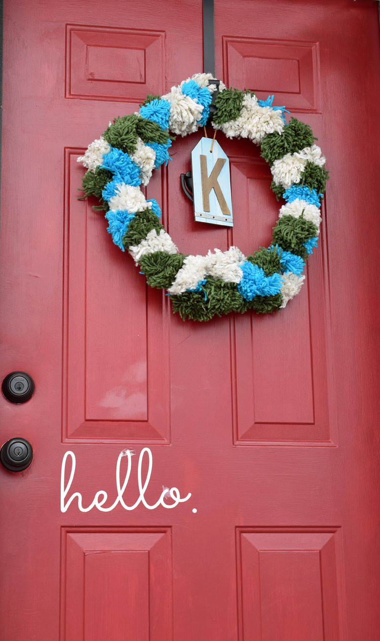 Pom Pom Wreath Red Front Door Momhomeguide Com
