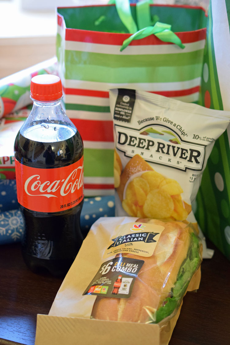 Enjoying a deli meal deal at Stop & Shop while wrapping gifts makes gift wrapping so much more fun and easy