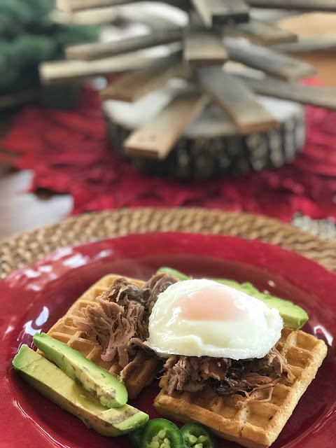 savory waffles with pork verde