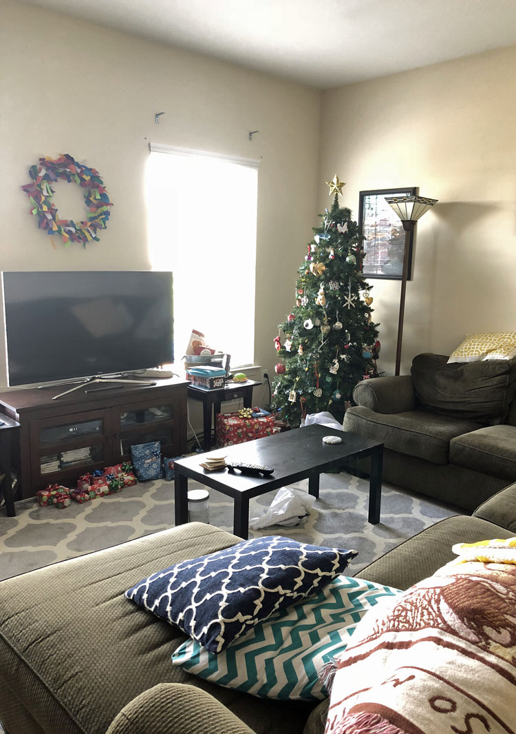a family room decorated for Christmas