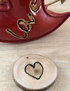 DIY wood slice heart token for Valentine's Day