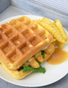 Chicken & Waffle Sandwiches with Maple Honey Mustard