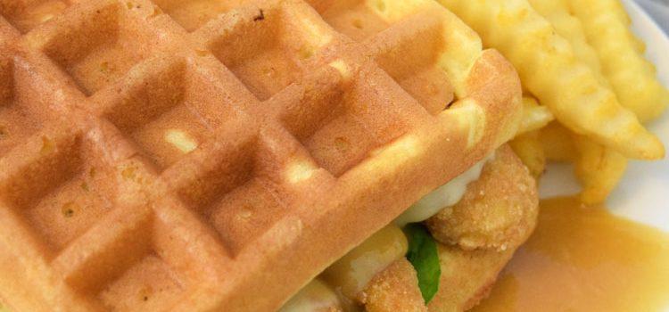 Chicken & Waffle Sandwiches with Maple Honey Mustard