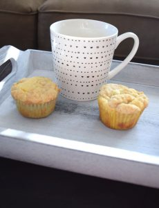 lemon crumb muffins with a mug of hot Folgers coffee