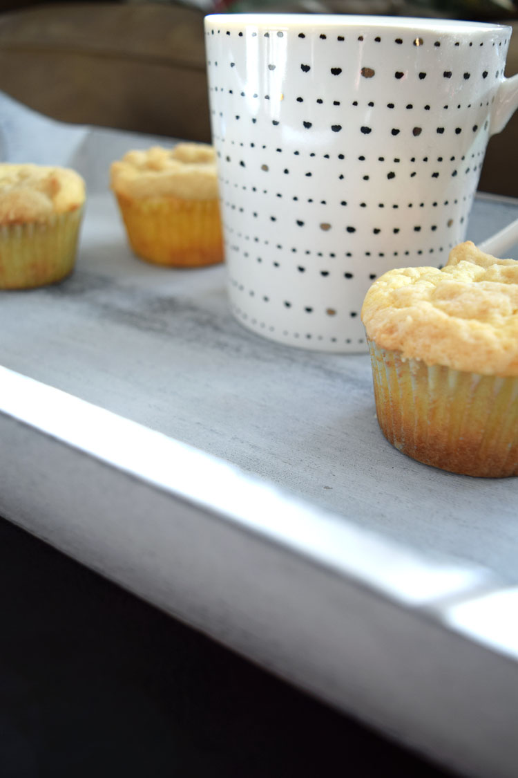 homemade lemon crumb muffins and Folgers coffee