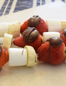 Strawberry Chocolate Marshmallow Banana Skewers