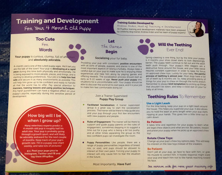 A handy Training and Development card about your puppy that comes in each PupBox