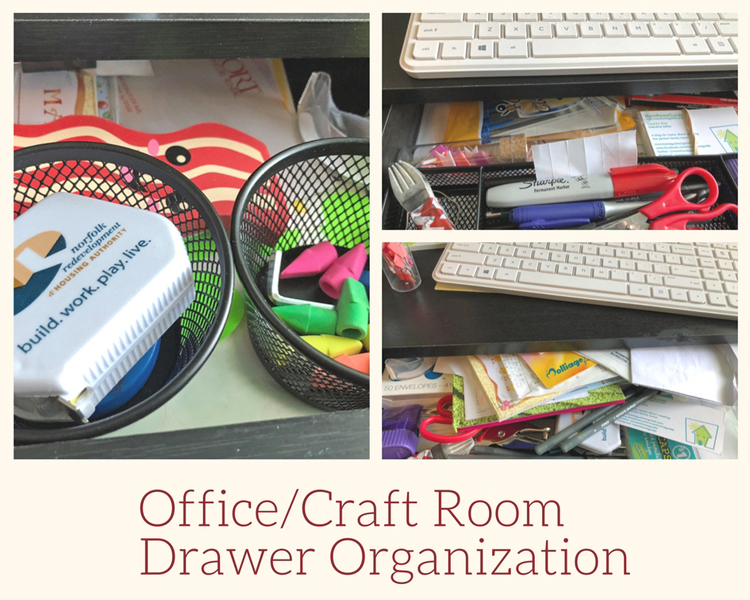 how to organize an office/craft room drawer with dollar store items