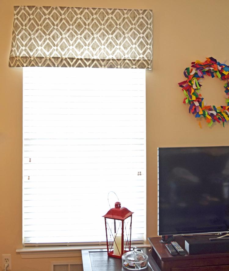 gray geometric window valance