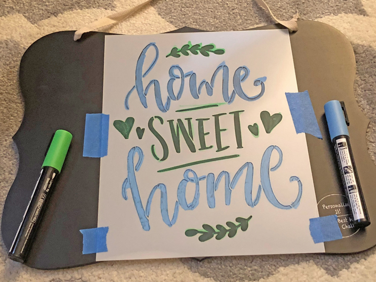 stenciling a home sweet home sign