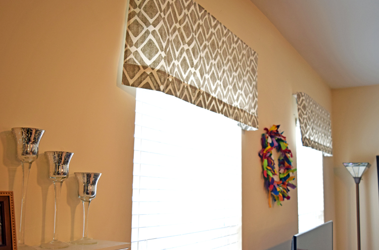 gray geometric window valances