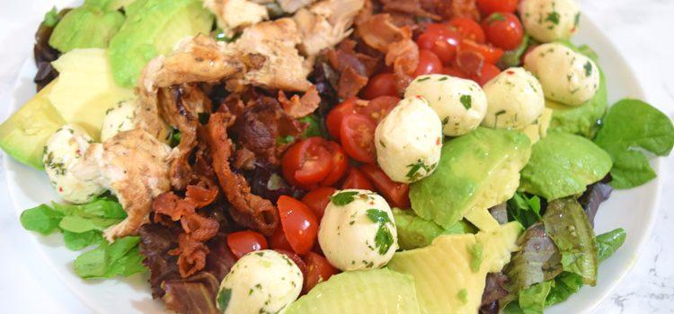 Grilled Chicken Avocado & Bacon Caprese Salad