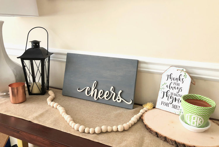 rustic farmhouse decorated console table