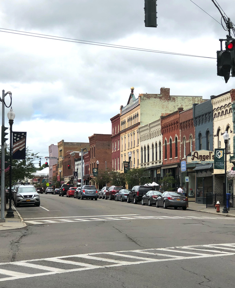 the downtown area of Penn Yan, New York on Keuka Lake