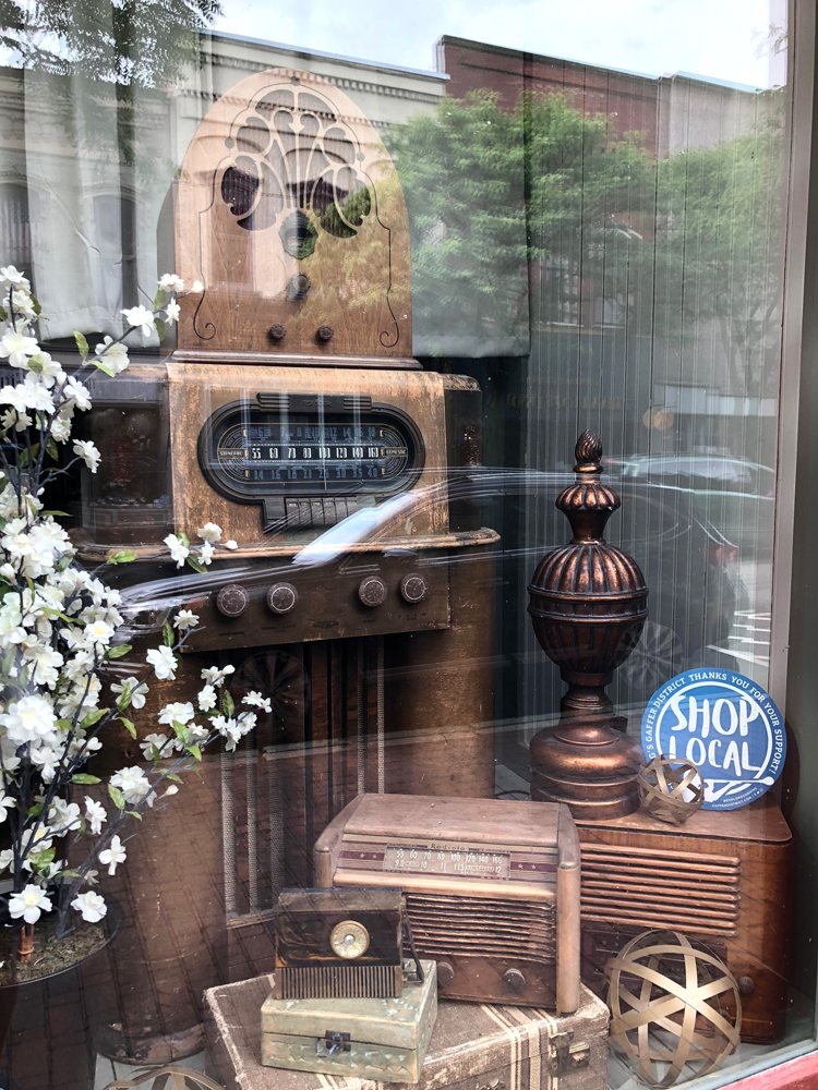 downtown Corning New York shop window display