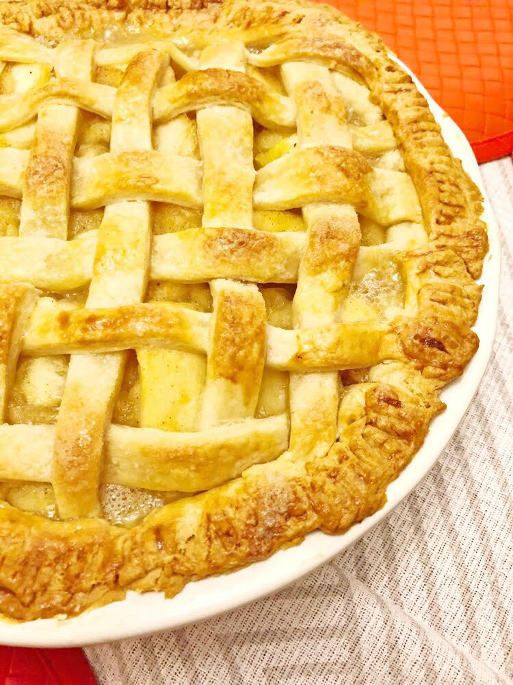 homemade lattice apple pie with homemade crust