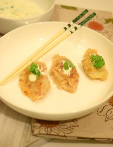 loaded sweet potato and kimchi pot stickers