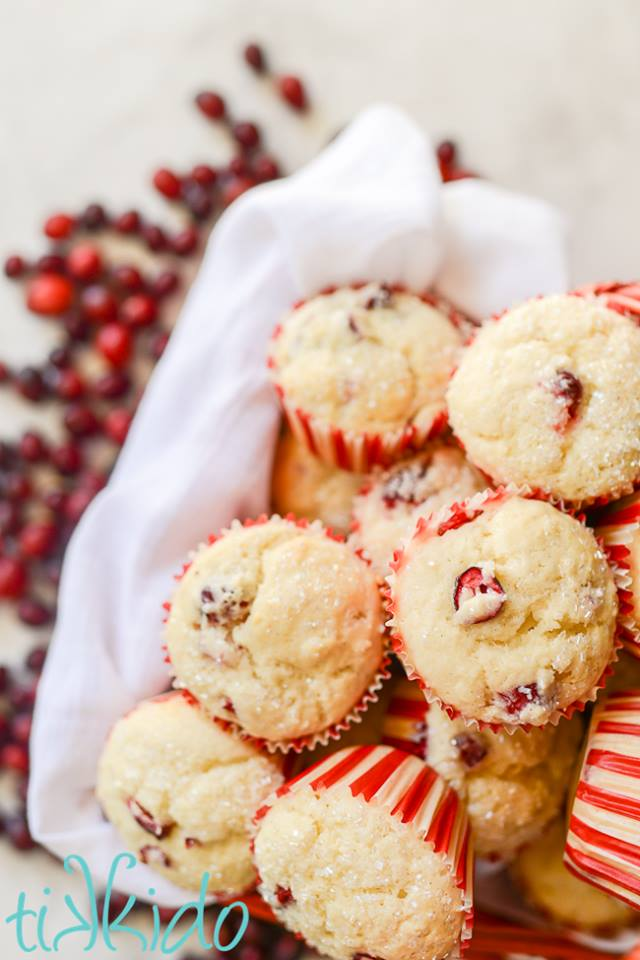 Recipe from Tikkido for homemade cranberry muffins