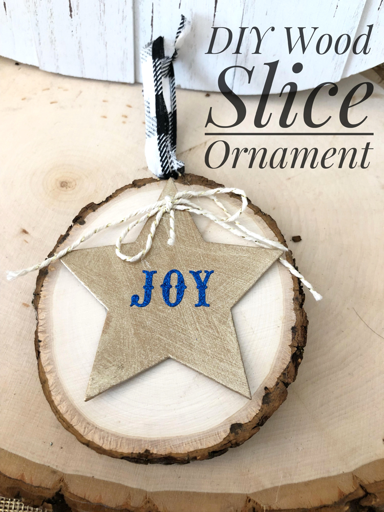 This simple rustic wood slice Christmas ornament is easy to make for the holiday season.