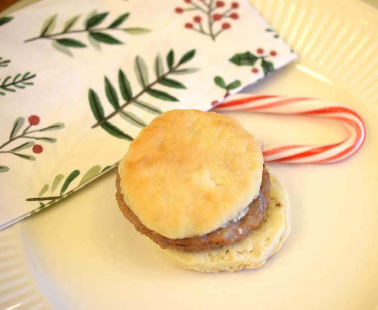 Yummy Smithfield breakfast sandwich on a Christmas breakfast table