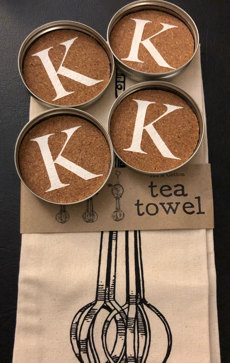 monogram cork mason jar lid coasters and tea towel