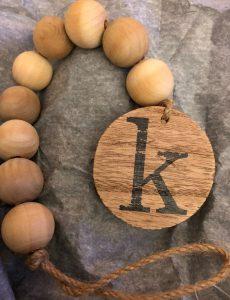 monogrammed wood bead garland