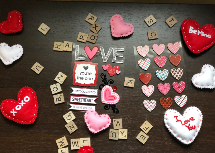 cute Valentine's Day stickers, Scrabble tiles and felt hearts
