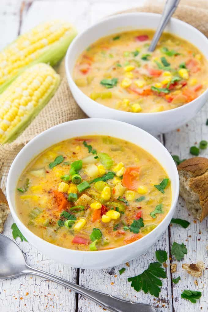 Delicious bowl of vegetarian corn chowder with potatoes by Vegan Heaven
