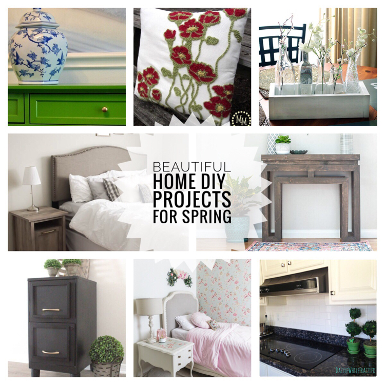 These budget DIY projects are great ways to update your home for spring. I love these projects: DIY green painted table, yarn embellished pillow, planter box with bud vases, master bedroom update, gray console table, black filing cabinet, French girl's bedroom and subway tile backsplash.