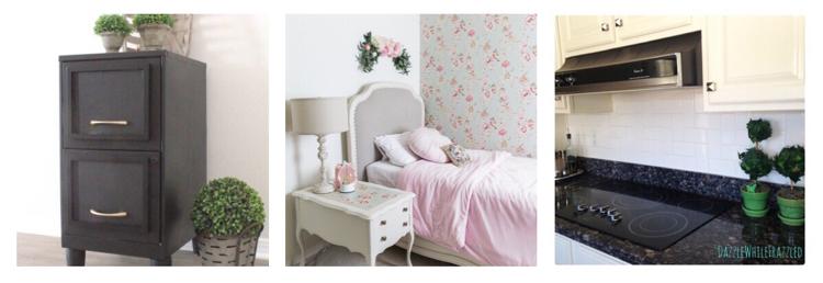 Love this remodeled filing cabinet, sweet girl's bedroom and subway tile backsplash