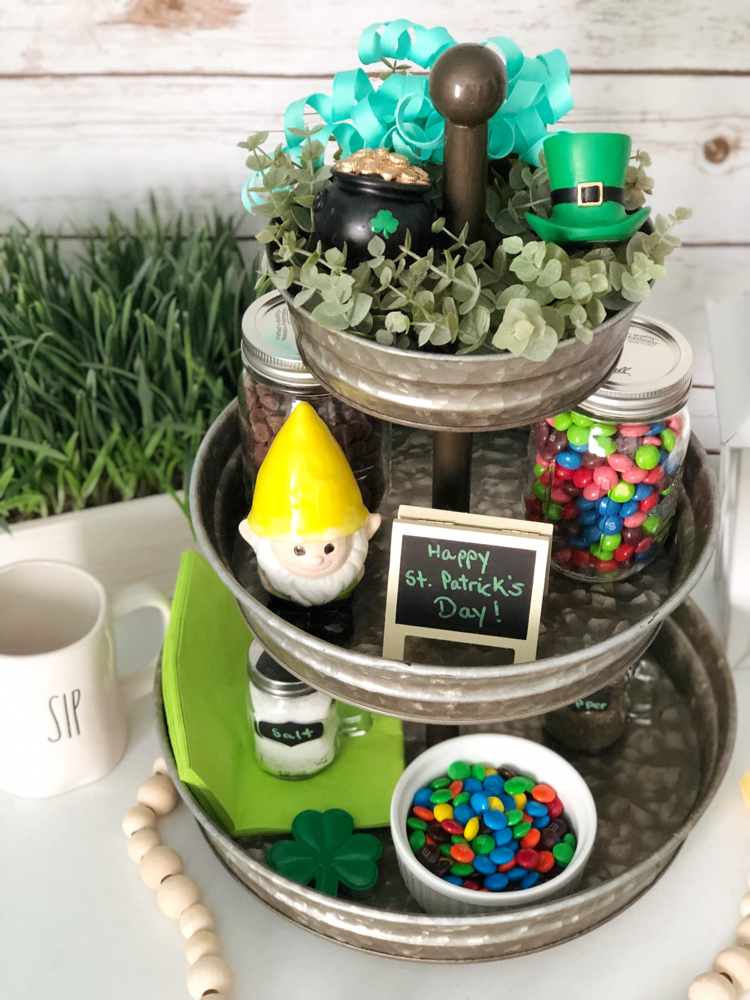 I like how this farmhouse-style galvanized metal tray is decorated for St. Patrick's Day with a shamrock, pot of gold and leprechaun hat.