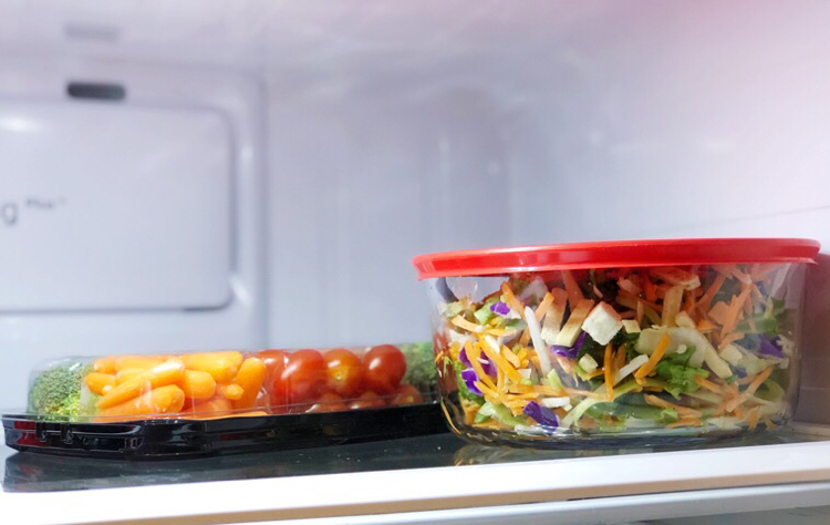 I like to keep a fresh salad and cut veggies in my fridge so they are always ready to go for my family.