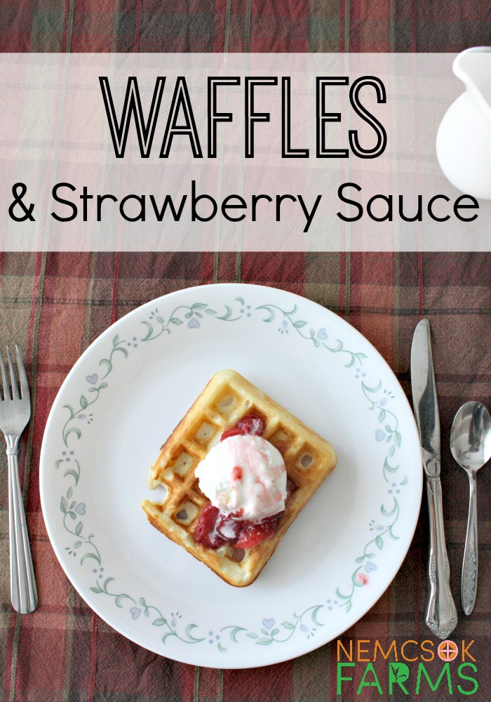 homemade waffles with strawberry sauce