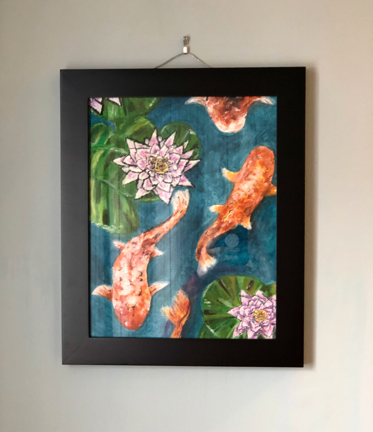 A painting by EK of orange koi in a blue lake or pond